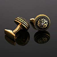 Men's Round Cufflinks Set - Gold