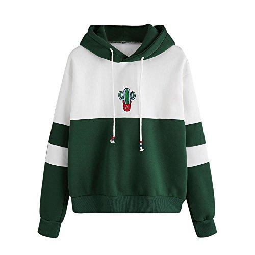 Hoodie Damen Langarm Kaktus Print Hoodie Sweatshirt Sweat Tops Bluse Teenage Mädchen Frauen Pullover MYMYG Einfach Basic Coat Outwear Streetwear (Grün,EU:38/CN-L)