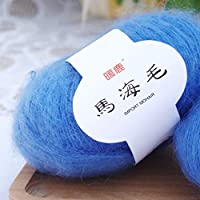 Ludzzi Crochet Thread Mohair Cashmere Knitting Wool Colourful Yarn DIY Soft Shawl Scarf Supplies for Patterns Projects Knitting and Applique Crochet Knitting Mini Project