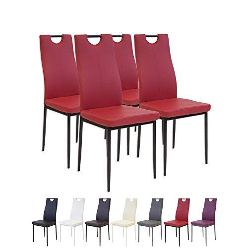 Albatros 2911 Salerno Esszimmerstühle, 4-er Set, Rot