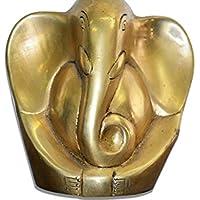 FIGO INC® Ganesh, Ganpati della divinità indiana Ganesha, in ottone solido Ganesha Statua decorativa, in stile moderno, piccolo ottone Ganesha Statua 'office scrivania per auto, in ottone solido Scultura Artifact di Ganesha, Vintage decorativa, collezione prezioso e artigianale, fatta a mano, Vintage, confezione regalo a tema religioso, Home Decor - Scultura Auto