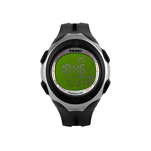 iLove EU Herren Armbanduhr 50m Wasserdicht Digital LED Alarm Datum Uhr Sportuhr mit Grün Zifferblatt und Schwarz Silikon Band
