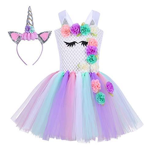 YiZYiF Kinder Kostüm Einhorn Kleid Tutu Mädchen Fee Prinzessin Kostüm Set Weihnachten Outfits Fasching Karneval Kostüm Verkelidung 92-152 Stil A (2tlg. Set) 92-98