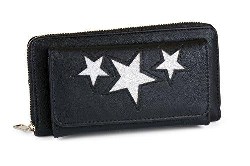 FashionCHIMP Geldbörse mit glitzerndem Stern-Muster und Smartphone-Fach, Damen Portemonnaie (Schwarz-Silber)