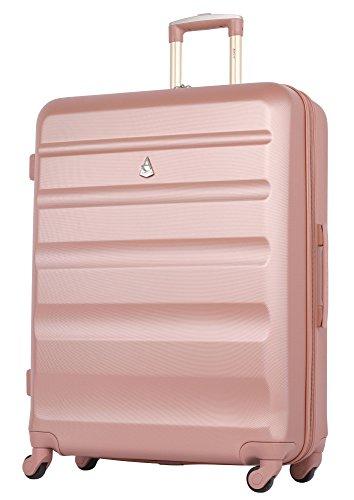 41w5msadl7L - Aerolite - Súper liviano, 3 piezas, equipaje de viaje rígido, maleta de viaje, con 4 ruedas (3 piezas, oro rosa)