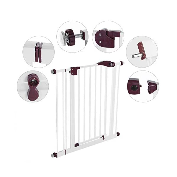 Baby Children Safety Gate Door Auto Close Swing Shut Stair Fence Pet Protection High and Wide Pressure Fit Safety Gate Ideal None Screw Stable and Durable Protective Safety Gate for Babies or Pets Ejoyous ღ Auto Close Double Lock 100% Safe ღ This Safety Gate Door adopt double lock and auto close design. There are 2 locks separately located on the top and bottom of the gate, which makes sure that your kids won't accidentally open it and get out. Besides the auto close design also buy you an insurance for careless forgetting to close it. Also it can locate 90 ° normally open, very convenient for long time in and out. These triple protection let your baby totally free from danger ღ Pressure Fit Set Easy Assemble ღ There is no need of any drilling work. The 4 pressure point will let the Safety Gate be firmly and stably fixed on the wall. Extremely easy to get the assemble job done or disassemble to move it to any place else ღ 85-94cm Wide High Versatility ღ The original wide(81 cm) plus extension accessories (10 cm) makes a total 91 cm wide along with the extension pressure point can let the gate be set at 85-94cm doorways, hallway or stairway (the most common wide of house design). You are free to choose using extension accessories or not 11