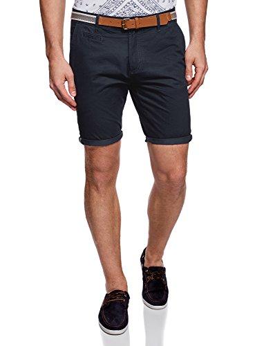 Oodji ultra uomo pantaloncini in cotone con cintura, blu, it 44 / eu 40 / m