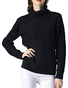 ELLAZHU Moda mujer Turndown Clooar mangas largas costillas Top suéter YY54 Azul L