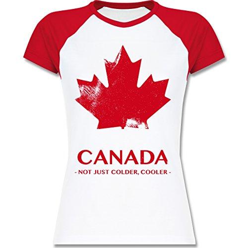 Shirtracer Länder - Canada Vintage Not Just Colder Cooler - Zweifarbiges Baseballshirt/Raglan T-Shirt für Damen Weiß/Rot