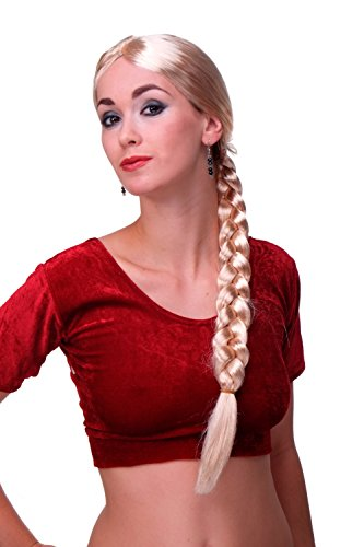 WIG ME UP ® - Per-P02 Perücke Karneval Fasching Damenperücke Rapunzel lang blond geflochtener Zopf Magd ()