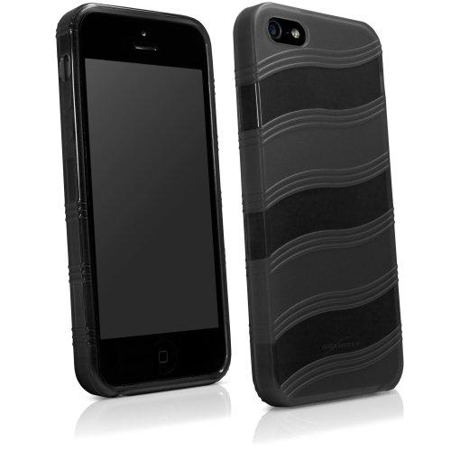 Apple iPhone 5s AirWave BoxWave Coque fine Ultra résistante en TPU avec design à rayures large courbé Pattern- Apple iPhone 5s Noir Jais)