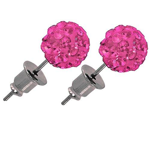 1 Paar Shamballa Ohrstecker in Geschenkbox Ohrringe Ohr Strass Glitzer Kristall Kugel Disco Zirkonia Damen Etui, Größe:6 mm;Farbe:rosa