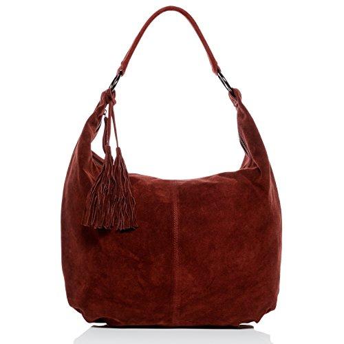 BACCINI Beuteltasche echt Wildleder Selina groß Hobo Bag Schultertasche Ledertasche Damen rot -