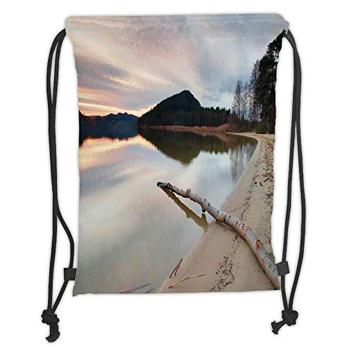 Juzijiang Drawstring Sack Backpacks Bags,Driftwood Decor,Landscape of Lake Shore with Dead Tree Trunk in The Water Digital Print,Sand Brown Soft Satin Closure,5 Liter Capacity,Adjustable. -
