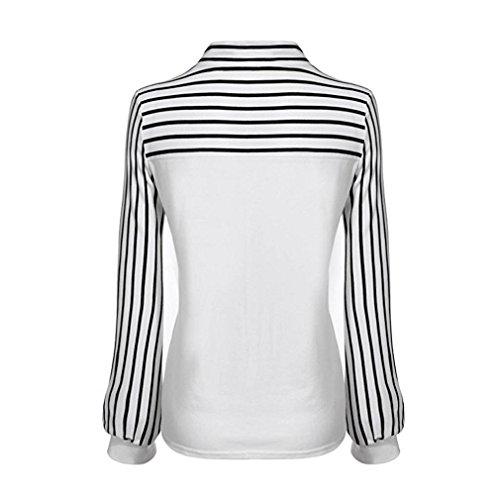 HUI.HUI Femmes Blouse, Femmes Occasionnel Bowknot Manches Longues Rayures T-Shirt de Tops en Vrac OL Office Travailler Chemisier Blanc