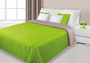220x240 grün hellgrün beige cappuccino Tagesdecke Bettüberwurf Steppbettüberwurf Steppung zweiseitig Eva