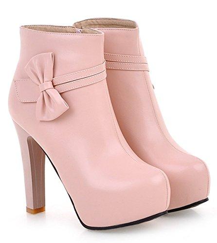 Ankle Boots Rosa Com Ankle Senhoras Ye inverno Zipper Salto Centímetros Alto De Sapatos Outono 12 Planalto Boots Arco Salto De q4zwxE1B