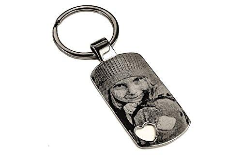 Grosser EDLER Schlüsselanhänger DOGTAG HERZ mit Gravur | HEART KEY graviert | Schlüsselanhänger mit Deinem Wunsch Foto und Deinem Wunschtext | individuell personalisiert | UNIKAT (GRAVUR BEIDSEITIG)