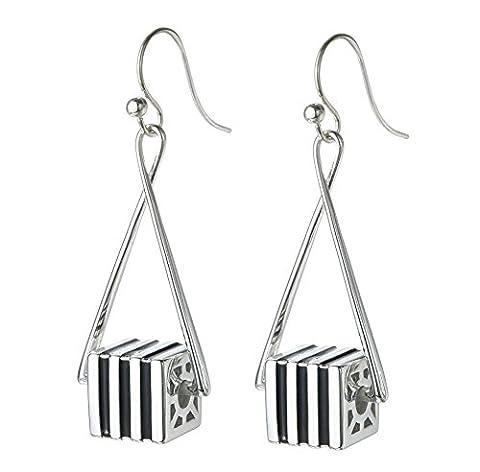 SILVERAGE Sterling Silver Striped Triangle Shaped Drop Earring Long Dangle Earrings for Women Gift