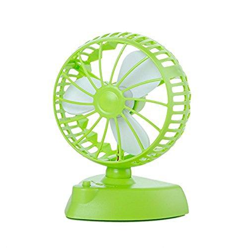 Mini USB Fan 180° Rotation Tragbarer Kühler herausnehmbarer mit Dual USB Stromversorgung und Netzteil Akku für Outdoor Home Office grün Auto-kühler-plug-in