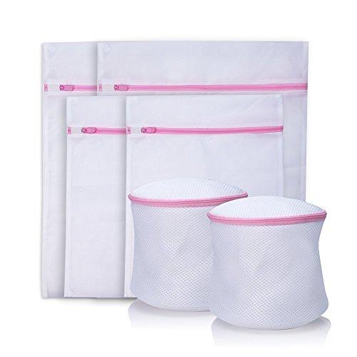 6 Stück Cherbell Wäschenetz Wäschesack Premium Wäschetasche Wäschebeutel für Dessous, Socken, Strumpfhosen, Strümpfe und Baby Kleidung (- Reißverschluss-band)