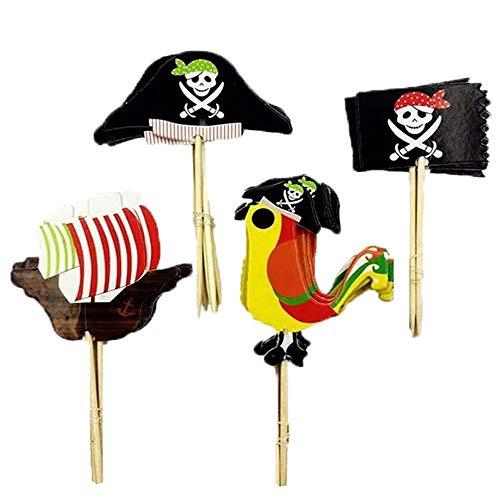 Halloween Kuchen Oder Cupcakes - XUNKE 48 Stücke Pirate Kuchen Topper