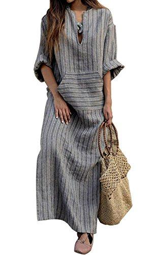 MAGIMODAC Damen Maxikleid Sommerkleid Kleider Boho Party Kleid Leinenkleid  Strandkleid Lang Grau Gr.36-50 (Grau, Etikett L (EU 40)) 1cc42c8f17