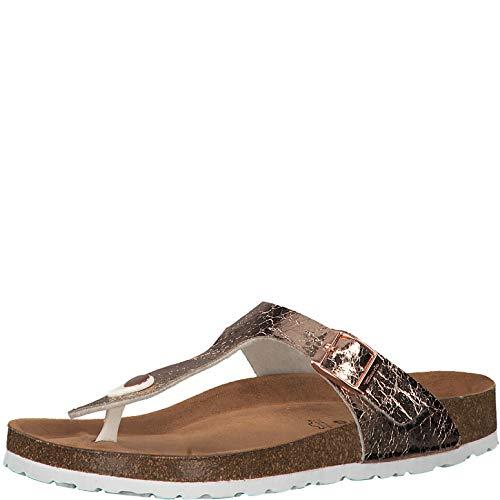 Tamaris 1-1-27531-22 Damen FlipflopsLeder,Sandale,hochwertig,bequem,leicht,Sommer,Strand Schuhe,Rose METALLIC,41 EU