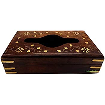 UniqueKrafts Wooden Tissue Box Holder Cover with Brass Inlay and Velvet Interior (9inch)