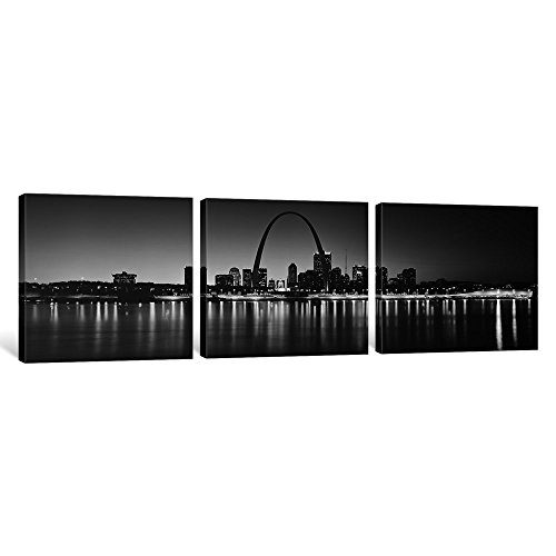 iCanvasART 3 Piece City Lit up at Night, Gateway Arch, Mississippi River, St. Louis, Missouri, USA Canvas Print by Panoramic Images, 16 x 48 x 1.5-Inch
