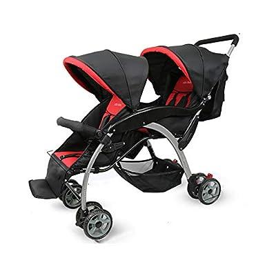 QZX Cochecito Doble para cochecitos de bebés y niños pequeños Tandem Connect Sistema de Seguridad de 5 Puntos, Asientos reclinables independientemente, Plegado fácil y liviano
