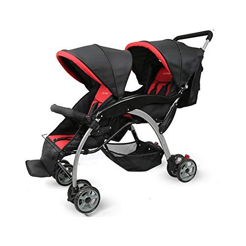 QZX Doppel Kinderwagen für Baby und Kleinkind Tandem Duo Connect Kinderwagen 5-Punkt-Sicherheitssystem, unabhängig lehnende Sitze, leichte, leichte Falte,Red