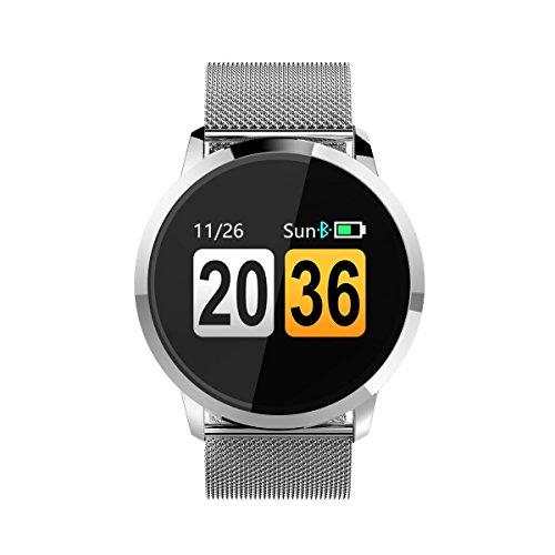 Hswt Intelligente Bluetooth-Uhr Multifunktionsuhr Sport intelligentes Armband Wasserdicht Fitness-Aktivitäts-Tracker Mit Touchscreen IOS und Andoird,Black