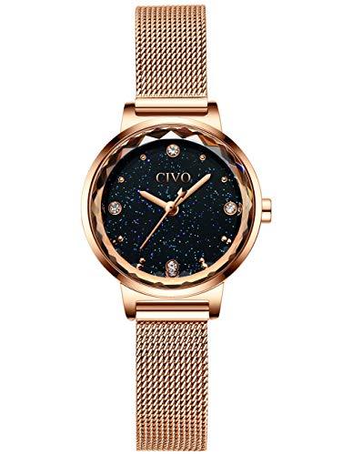 CIVO Damen Uhren Wasserdicht Silm Minimalistisch Rose Gold Damenuhr mit Edelstahl Mesh Armband Mode Kleid Elegant Luxus Beiläufig Quarzuhr für Frau Lady Teenager Mädchen (3 Blau)