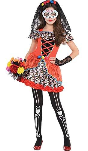 Fancy Me Mädchen Teen bunt Leuchtend Zuckerschädel Senorita Mexikanisch FEST Halloween 5 Stück Kostüm Kleid Outfit 8-16 Jahre - 12-14 Years (Glovelettes Kostüm)
