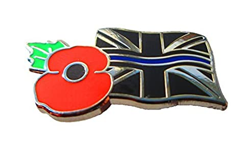 Thin Blue Line & Union Jack Rememberance Tie Pin Lapel Badge Police Officer