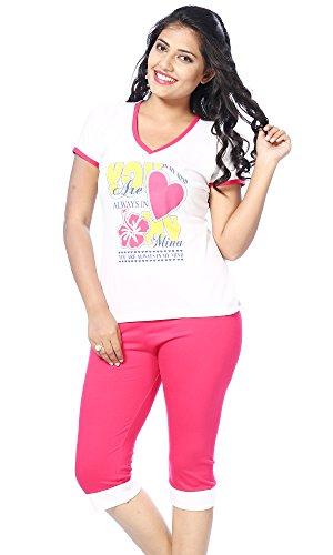 Apple Knitt Wear White & Pink Cotton T-shirt & Capri Night Suit Set (Size:XL)