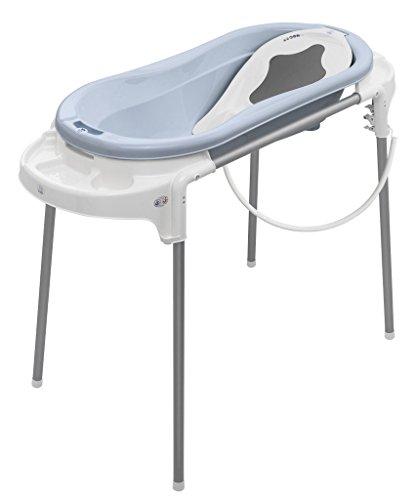 Rotho Babydesign Badestation TOPXtra / 129cm Breite / Große Babybadewanne baby bleu mit Aufbewahrungsfächer & Badewannenständer, höhenverstellbar / inkl. Wanneneinlage weiß und Ablaufschlauch