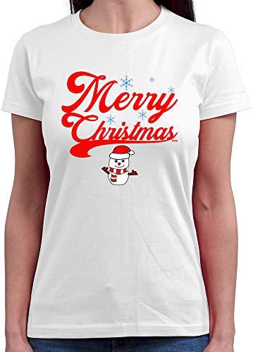 HARIZ  Damen T-Shirt Rundhals Weihnachten Merry Christmas Stadt Weihnachten Weihnachts Schnee Tannenbaum Plus Geschenkkarten Weiß L