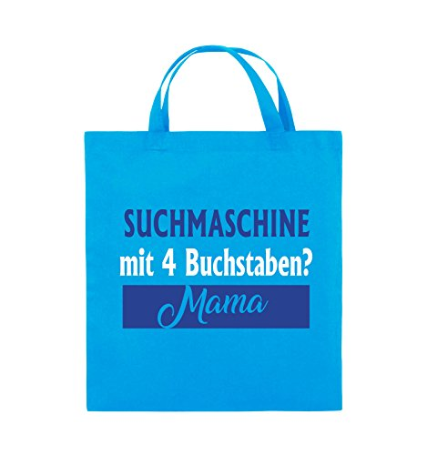 Comedy Bags - Suchmaschine mit 4 Buchstaben? Mama - Jutebeutel - kurze Henkel - 38x42cm - Farbe: Schwarz / Weiss-Neongrün Hellblau / Weiss-Royalblau