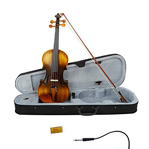 Goglor 4/4 E-Violine aus Massivholz mit Tragetasche, Bogen, Kolophonium und Audiokabel, professionelles Akustik-Violinen-Starter-Set für Anfänger/Studenten