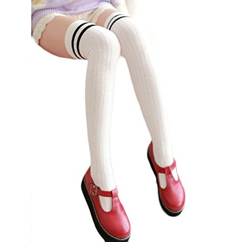 Saingace Frauen-Streifen Winter-über Knie-Bein-Wärmer Weiche Strick Crochet Socke Legging (Weiß) (Kaschmir-knie-hohe Socken)