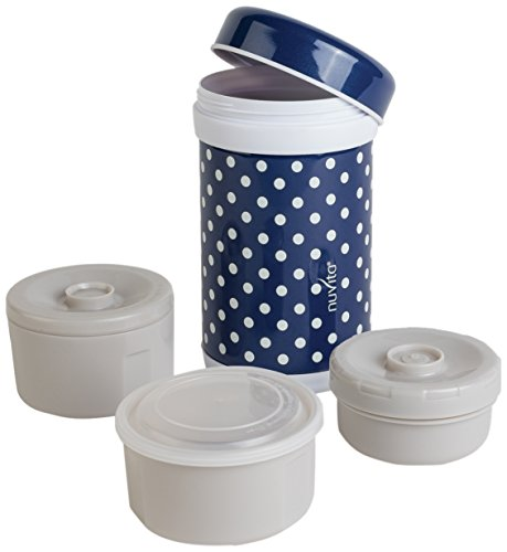 Nuvita 1477 - Borraccia termica con 3 contenitori per il cibo, 1.200 ml, colore: Blu