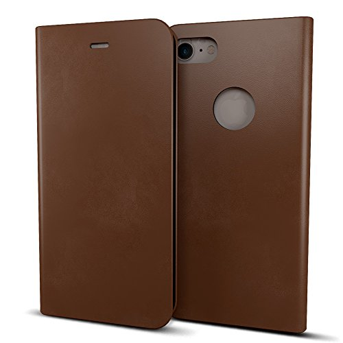 MTT® Premium Leather Flip Wallet Case with Card Slot for Apple iPhone 7 (Brown)