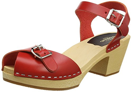 Swedish Hasbeens - Pia High, Scarpe spuntate Donna Red (Red)