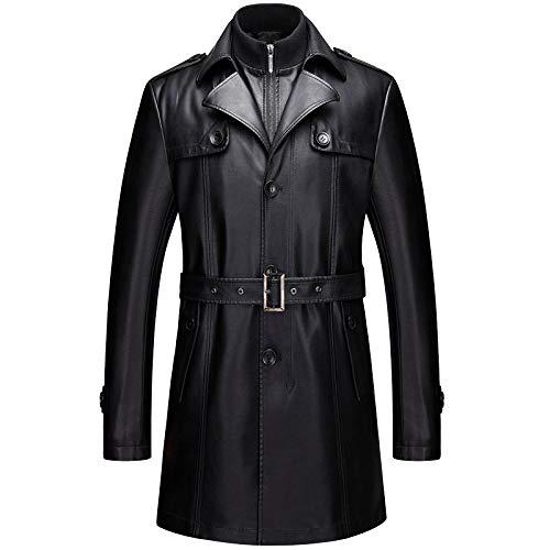 MERRYHE Abrigo De Estilo Medio para Gabardinas De Cuero para Hombres Collar Desmontable De Cuello Rompevientos Ropa De Abrigo Negra con Forro De Felpa,Black-4XL195/108A(Bust132cm)
