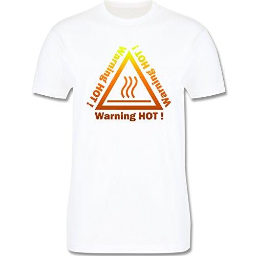 Sprüche - Warning hot - Herren Premium T-Shirt Weiß