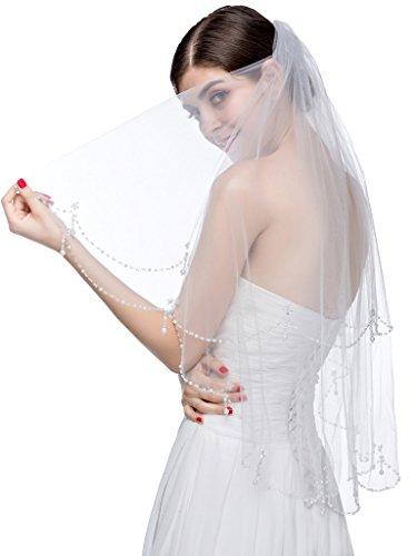 Hochzeit Tier-soft-tüll Eine Schleier (Edith qi Mode 2 Schicht Sequin Perle Anhänger Hochzeit Brautschleier wulstige Kristalle)