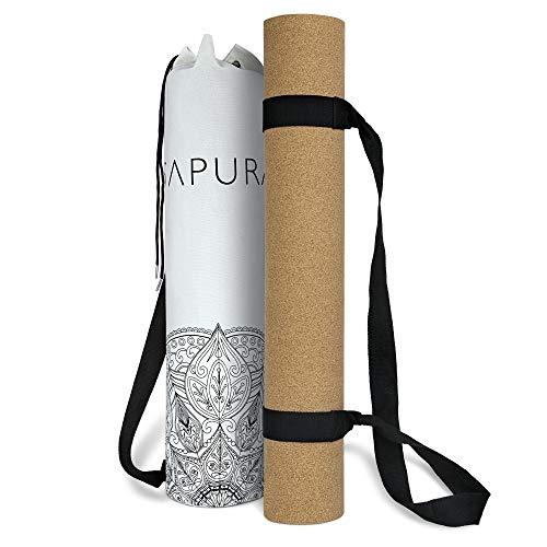 SAPURA XXL Yogamatte rutschfest ✓ Kork und Naturkautschuk 190cm ✓ Extra lang ++ Tragegurt ++ Umhängetasche ✓ Nachhaltig