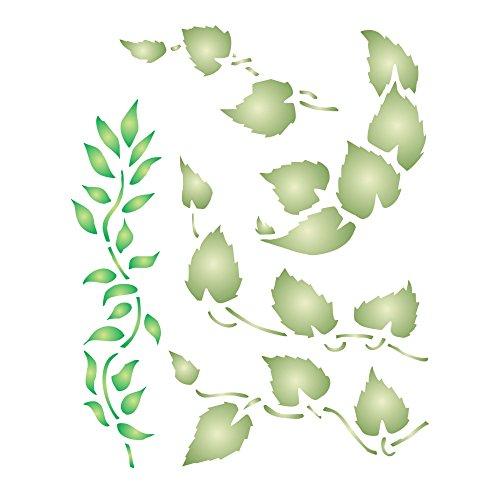 derverwendbare kleine Blätter Blätter Wandschablone L ()